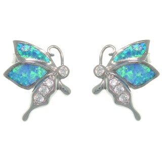 Sterling Silver Created Opal and CZ Playful Butterfly Earrings