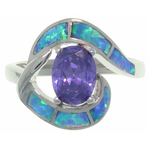 Sterling Silver Created Opal and Purple CZ Night Dreams Ring