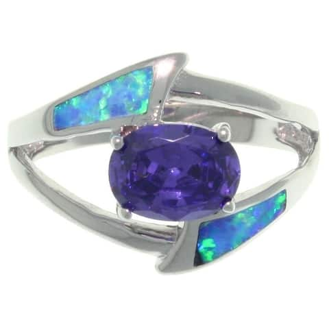 Sterling Silver Created Opal and Purple CZ Delight Ring