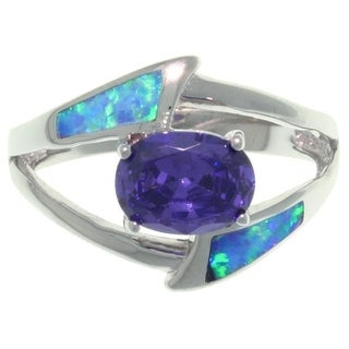 Carolina Glamour Collection Sterling Silver Created Opal and Purple CZ Delight Ring