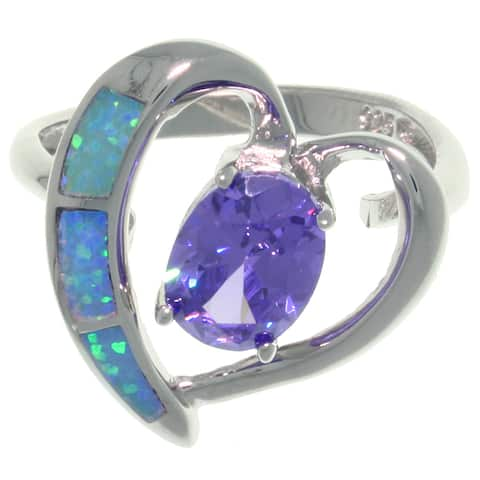 Sterling Silver Created Opal and Purple CZ Elegant Heart Ring