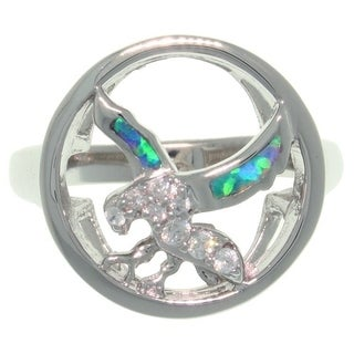 Sterling Silver Created Opal and CZ South Western Eagle In Flight Ring