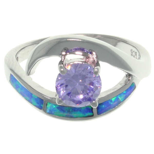 Sterling Silver Created Opal and Round Purple Cubic Zirconia Ring