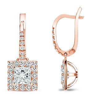 Auriya 14k Rose Gold 1ct TDW Princess Cut Diamond Leverback Earrings
