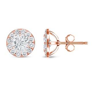 Auriya 14k Rose Gold 1ct TDW Round Halo Diamond Stud Earrings