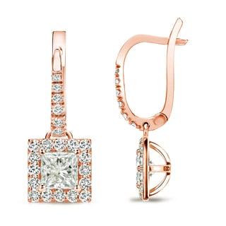 Auriya 14k Rose Gold 3/4ct TDW Princess Cut Diamond Leverback Earrings