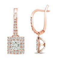 14k Rose Gold 3/4ct TDW Princess Cut Diamond Halo Dangle Earrings by Auriya