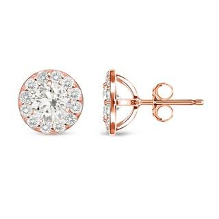 Auriya 14k Rose Gold 3/4ct TDW Round Diamond Stud Earrings (I-J, I1-I2)
