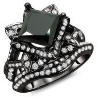 Noori 14k Black Gold 3 ct TDW Certified Black Princess Cut Lotus Flower 2-piece Diamond Ring Set