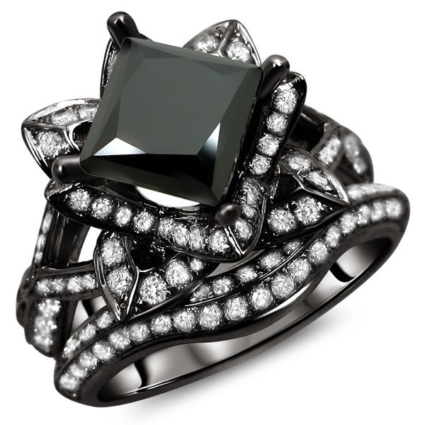Noori 14k Black Gold 3 ct TDW Certified Black Princess Cut Lotus Flower 2-piece Diamond Ring Set