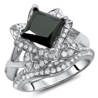 Noori 14k White Gold 2 1/2ct Certified Black Diamond Princess Cut Ring Set