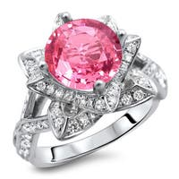 Noori 14k White Gold 2ct Certified Round Pink Sapphire and Diamond Lotus Flower Ring