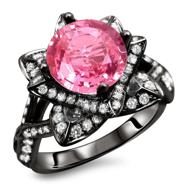 Noori 14k Black Gold 2ct Certified Round Pink Sapphire and Diamond Lotus Flower Ring