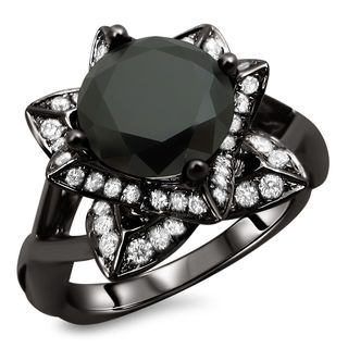 Noori 14k Black Gold 2 1/2ct TDW Certified Black Lotus Flower Diamond Ring