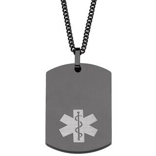 Engraved Black Stainless Steel Medical Alert Dog Tag