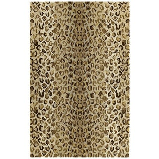 "Hand-tufted Lawrence Cheetah Gold Wool Rug (9'6 x 13') - 9'6"" x 13'"