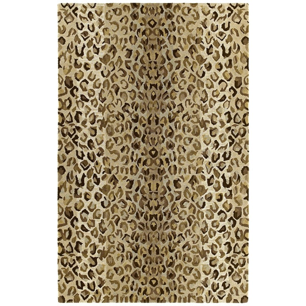 Hand-tufted Lawrence Cheetah Gold Wool Rug (9'6 x 13')