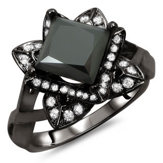 Noori 14k Black Gold 2ct TDW Certified Princess Cut Lotus Flower Diamond Ring (G, SI1-SI2)