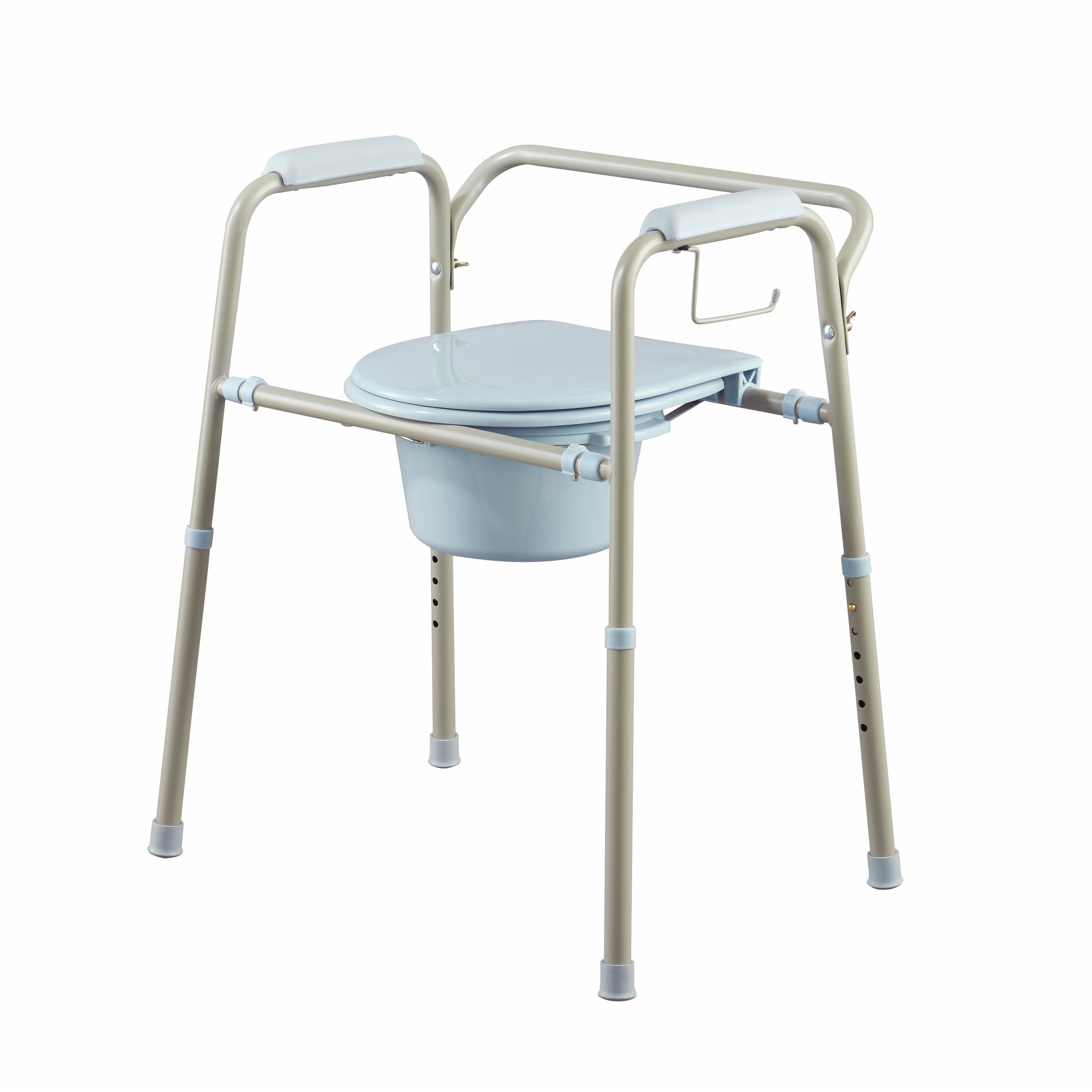 medline Adult Commode Chair Portable Toilet Support Seat Bedside Bathroom 350 Lbs. Gray