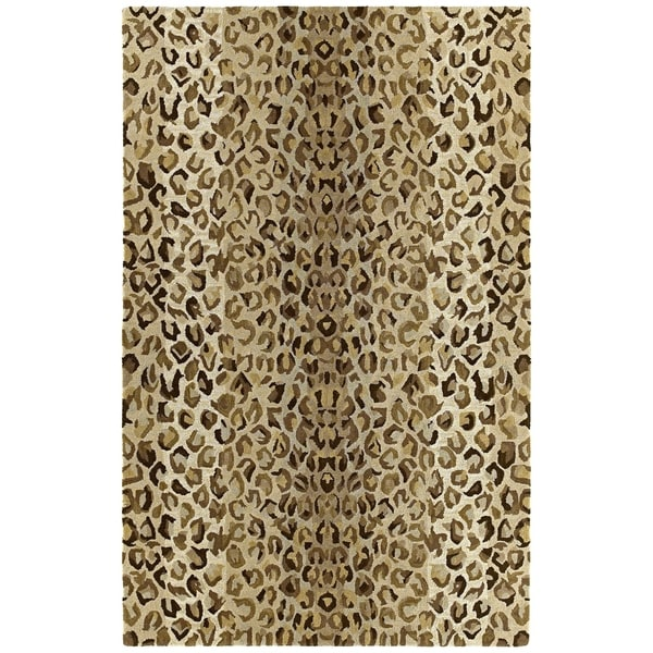 Hand-tufted Lawrence Cheetah Gold Wool Rug - 7'6 x 9'