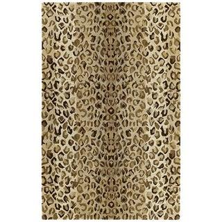 Hand-tufted Lawrence Cheetah Gold Wool Rug (7'6 x 9')