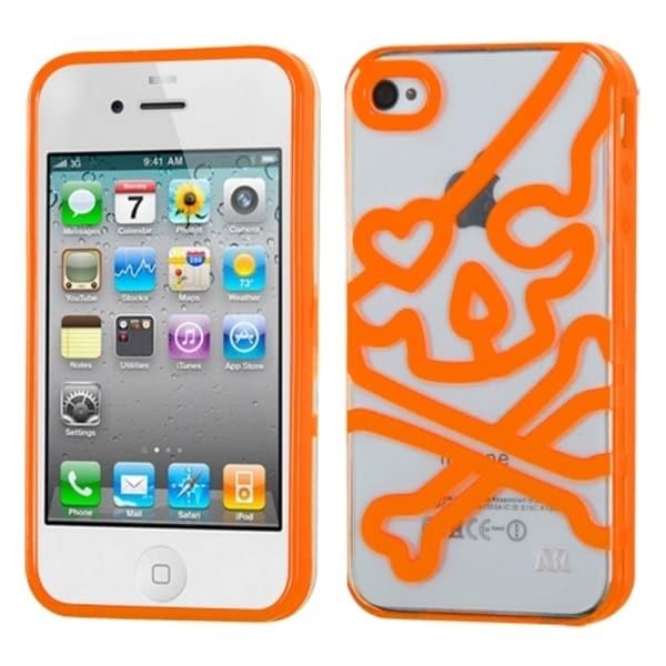 INSTEN Clear/ Orange Skullcap Gummy Phone Case Cover for Apple iPhone 4S/ 4