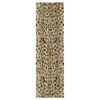 Hand-tufted Lawrence Cheetah Gold Wool Runner Rug (2'3 x 7'6)