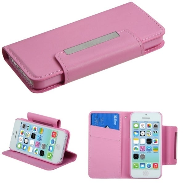 INSTEN Pink Wallet Phone Case Cover for Apple iPhone 5C