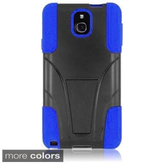 INSTEN Black/ Blue T-Stand Dual Layer Hybrid Stand PC Soft Silicone Phone Case Cover for Samsung Galaxy Note 3