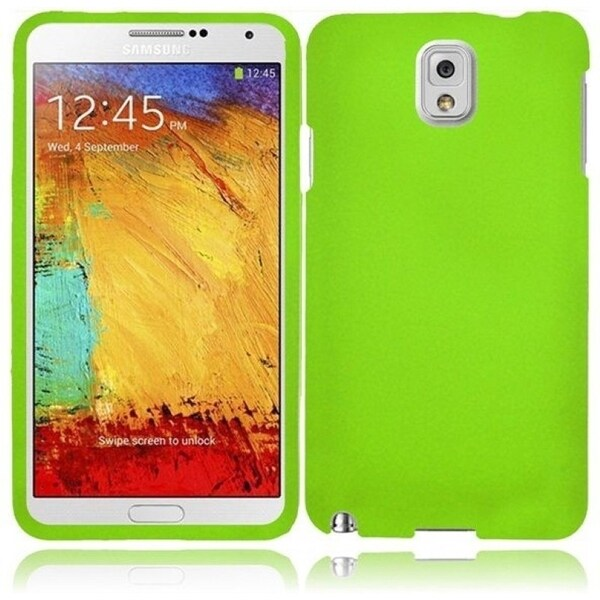 INSTEN Premium Green Rubberized Matte Hard Plastic PC Snap-on Phone Case Cover for Samsung Galaxy Note 3