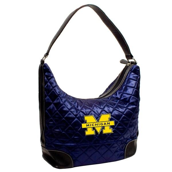 Little Earth NCAA Michigan Wolverines Quilted Hobo Handbag