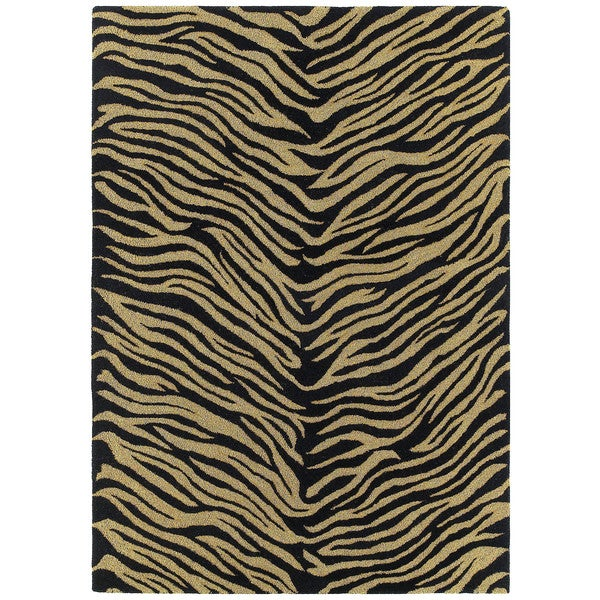 Hand-tufted Lawrence Zebra Black Wool Rug - 9'6 x 13'