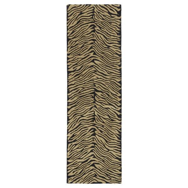 Shop Hand-tufted Lawrence Zebra Black Wool Runner Rug (2'3