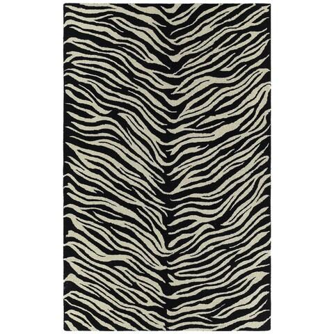 "Hand-tufted Lawrence Zebra Wool Rug - 7'6"" x 9'"