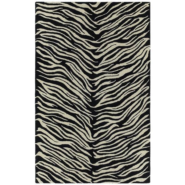 Hand-tufted Lawrence Zebra Wool Rug - 7'6 x 9'