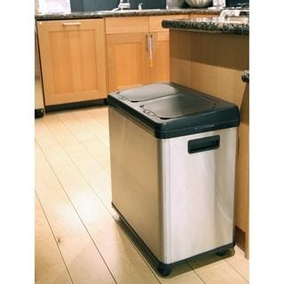 iTouchless Stainless Steel Dual-compartment Touchless Sensor 16-gallon Recycle Can