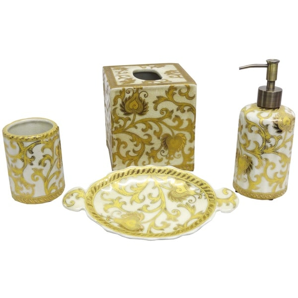 Gold porcelain scrolls bath accessory 4 piece set free for Gold bathroom accessories sets