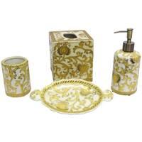 Gold Porcelain Scrolls Bath Accessory 4-piece Set