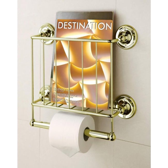 Estate 13K Gold Finish Magazine Rack/ Toilet Paper Holder...