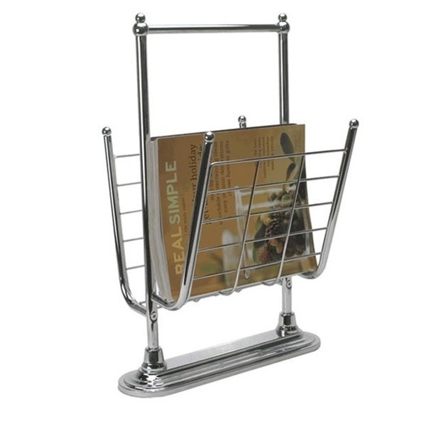 Free Standing Chrome Finish Magazine Rack