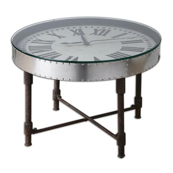 Uttermost Cassem Aluminum Clock Table