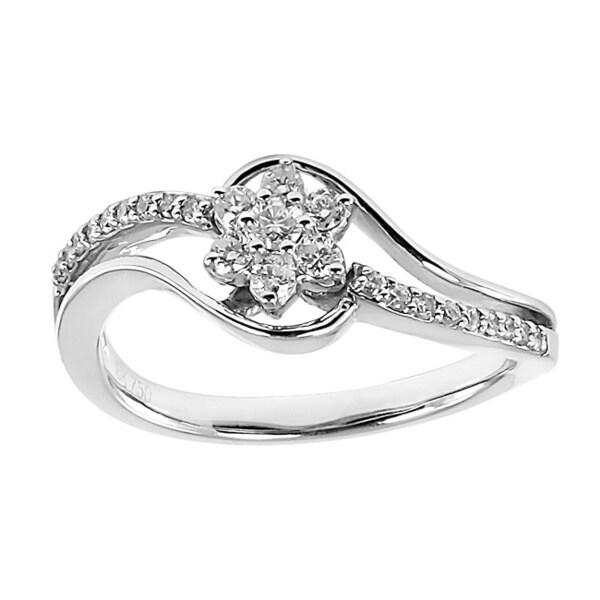 18k White Gold 1/3ct TDW Floral Diamond Ring (I1-I2)