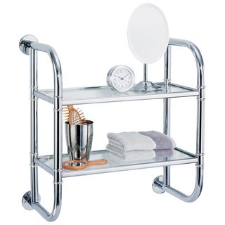Wall Mounting Chrome Finish 2-tier Bath Shelf