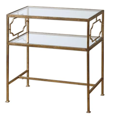 Uttermost Genell Gold Leaf Side Table