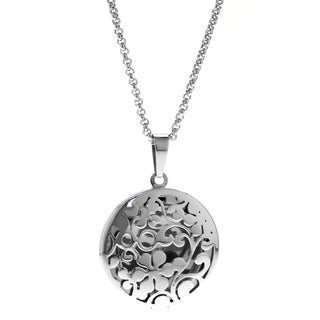 Stainless Steel Round Filigree Flower Locket Pendant