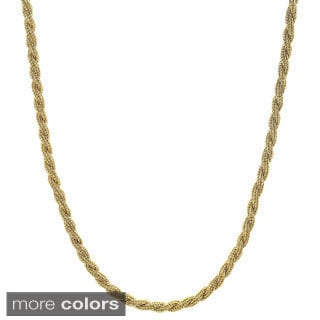 Stainless Steel Goldplated and Rope Chain Necklace