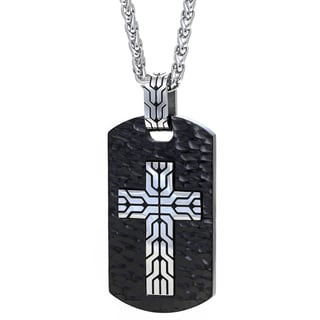 Stainless Steel Mens Cross Accent Textured Dog Tag Pendant