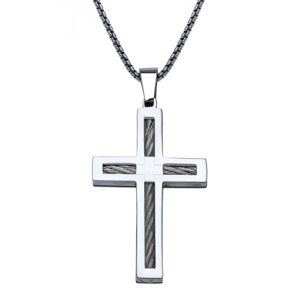 e4a32a69876 Shop Stainless Steel Mens Cross Pendant - White - On Sale - Free ...