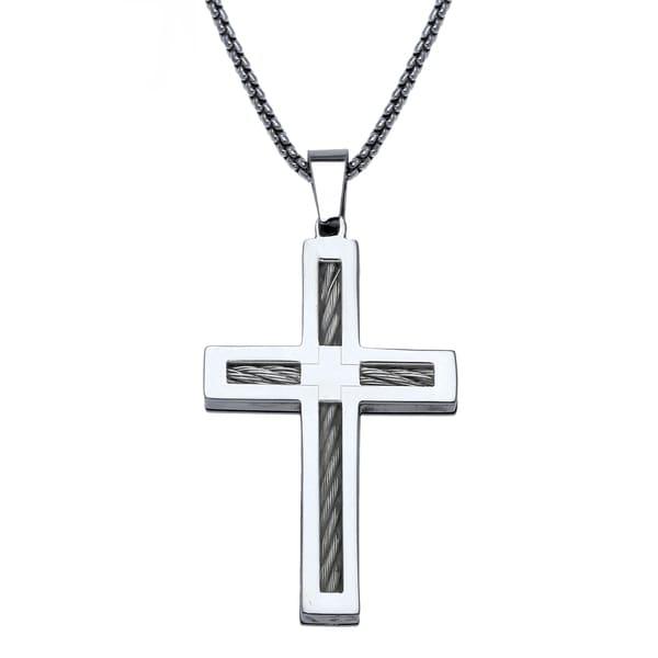 6bc5089d813 Stainless Steel Mens Cross Pendant - White