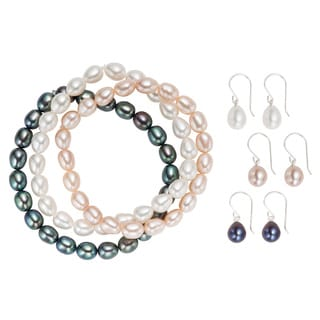 Pearlyta Sterling Silver Freshwater Pearl Stretch Bracelet and Hook Earring Jewelry Set